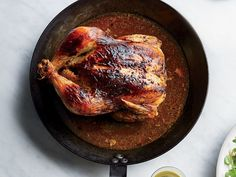 Roast chicken gets a flavor boost from poblano pimento cheese that's spread under the skin. Find the recipe at Food & Wine.