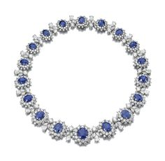 IMPORTANT  SAPPHIRE  AND  DIAMOND  NECKLACE,  BULGARI    Designed  as  a  graduated  series  of  clusters  each  set  with  an  oval  sapphire  and  brilliant-cut  diamonds,  alternating  with  marquise-  and  pear-shaped  and  brilliant-cut  diamond  spacers,  mounted  in  platinum,  length  approximately  400mm,  signed  Bulgari,