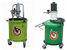 Air-operated grease pump.with 20 kg wheel-mounted tank.it is always ready for use and enables easy greasing at high pressure on any motor vehicle or machinery.The seamless pressed tank offers maximum guarantee of adherence and functionality of follower plate.