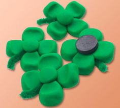Four Leaf Clover Magnets , use polymer clay for St. Patricks day projects