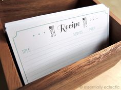Free Printable Recipe Cards | www.EssentiallyEclectic.com | These recipe cards can be printed from home and come in four different cute designs!