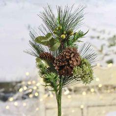 Artificial Greenery and Pinecone Spray 6