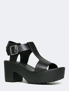 6cd66a997da7 CHUNKY T-STRAP SANDAL Shoes Heels Wedges