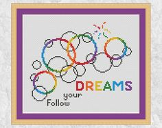 Bubbles cross stitch pattern, rainbow easy modern chart, Follow your Dreams, inspirational counted cross stitch quote, baby child, PDF