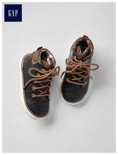 Distressed mid-top sneakers