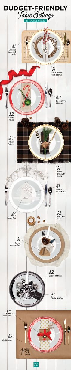 Budget-friendly table settings for the holidays Christmas Sweets, Country Christmas, All Things Christmas, Christmas 2016, Life On A Budget, Living On A Budget, Rachel Cruze, Diy Home Repair, Diy Holiday Gifts