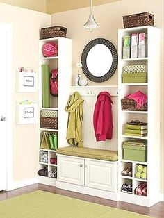 Laundry Room organization ideas including litter box hidden under bench w/ kitty door cut into bench or one side of the cabinet?