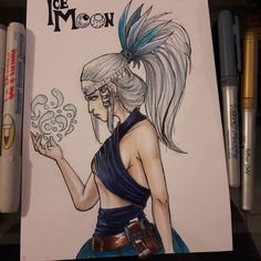 Surima from my #comic #ice #moon #whitehair #steampunkart #steampunk #copic #markerart #draw #drawing #blue #ink #water #magic