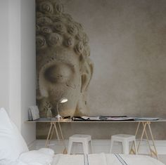 A favorite wallpaper from Rebel Walls, Buddha! #rebelwalls #wallpaper #wallmurals