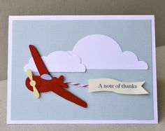 Airplane thank you, folded note card. $4.00, via Etsy.