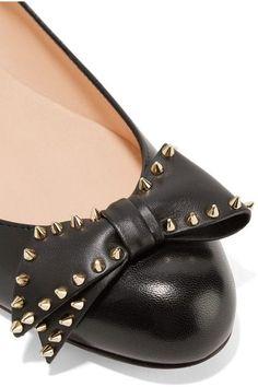 Christian Louboutin - Ballalarina Bow-embellished Leather Flats - Black - IT36.5