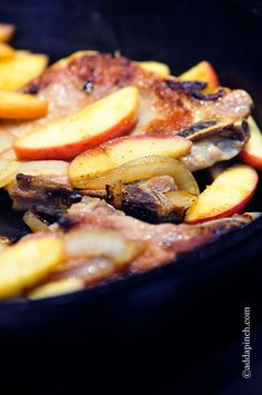 Pork Chops with Apples and Onions Recipe from addapinch.com