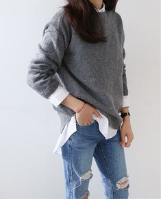 Boyfriend Jeans + White Button Up + Loose Fitting Grey Knit Sweater