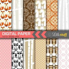 Woodland Burch digital paper pack by LittleStuff 12 JPGs  High quality 300 dpi  12x12 inches[Keywords: Digital Paper, Digital Backgrounds, Patterns, Scrapbook Paper, Forest, Nature, Woodland Forest, Forest Animals, Autumn, Fall, Birch Trees, Birch Forest, Birch Background, Deer, Owl, Raccoon, Fox ]____________________________________________TERMS OF USEPlease do not claim these graphics as your own, resell, or share them for free.