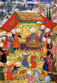 The Mongol ruler Timur is shown receiving a delegation under his tent canopy in this painting from a Zafer Nameh (Book of Victory) from Courtiers behind Timur hold a horsetail banner and a quiver of arrows; dancers and servants are in the foreground. Medieval Manuscript, Illuminated Manuscript, Middle Ages Clothing, Medieval Furniture, Canopy Tent, Tents, Winged Horse, Medieval World, Cheap Carpet Runners