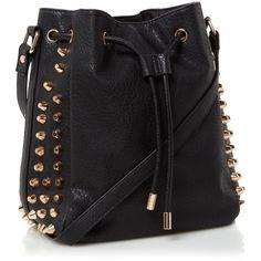 Black Large Studded Drawstring Bag ($56) ❤ liked on Polyvore