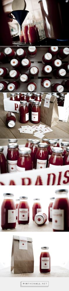Paradise packaging branding by Esther Laki on Behance curated by Packaging Diva PD.  'Paradise' is referring to its Hungarian equivalent 'Paradicsom', which also means heaven, besides its original meaning: tomato.