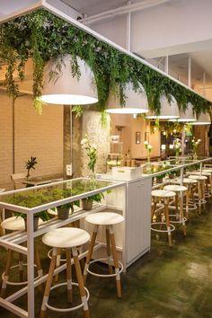 Restaurant Layout, Decoration Restaurant, Deco Restaurant, Coffee Shop Design, Cafe Design, Patio Design, Design Design, Design Ideas, Concrete Patios
