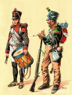 Line Infantry Regiment circa Left: drummer, fusilier company, full dress. Right: hornist, voltigeur (light infantry) company, campaign dress. Military Art, Military History, Military Uniforms, War Drums, Age Of Empires, French Army, Napoleonic Wars, Toy Soldiers, American Civil War