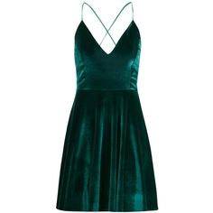 Boohoo Paige Cross Over Strappy Skater Dress ($22) ❤ liked on Polyvore featuring dresses, bodycon midi dress, bodycon party dresses, skater dress, green dress and green jersey