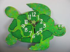Sea Turtle Clock, Whimsical Green Ceramic Turtle Clock,  Glow In The dark,Underwater Sea Turtle, Ocean Theme, Beach Decor, Turtle collector via Etsy
