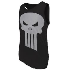 Punisher fans who can't get enough of the famous logo can put on this black 100% cotton tank top with the white skull design on the front.