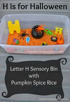 halloween sensory bin and learning letter H    --> super fall learning for kids!!