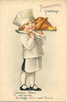 """"""" Greetings at Thanksgiving """" Vintage Artist Ellen Clapsaddle Post Card. Karodens Vintage Post Cards."""