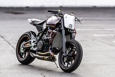The KTM RC8 'Scrappier,' built by Michael Woollaway of Deus Ex Machina in Venice.