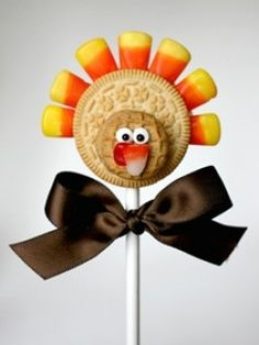 Cookie Turkey Pop. My grandma makes turkeys similar to these at Thanksgiving and puts them at every seat, except they aren't pops.