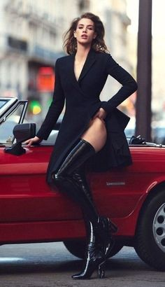 Woman In Car, Luxury Lifestyle Women, Model Tanks, Car Girls, Thigh High Boots, Stiletto Heels, Legs, Womens Fashion, Mira Sorvino