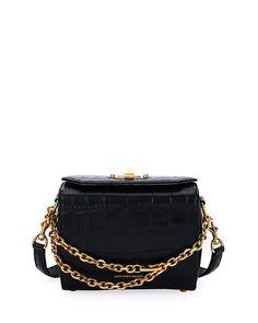 Alexander McQueen Box 19 Crocodile-Embossed Satchel Bag, Black