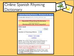I Teach Dual Language: Tuesday, June 5, 2012 blog entry...online Spanish rhyming dictionary