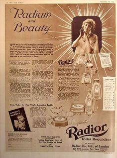 New York Tribune ad for Radior Toilet Requisites 1918