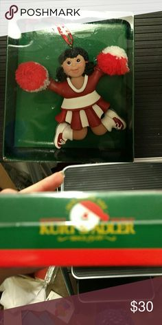 Cheerleader ornament Has dark hair. Could put name on white band Other