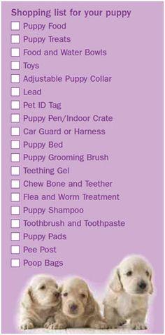 Puppy Shopping List