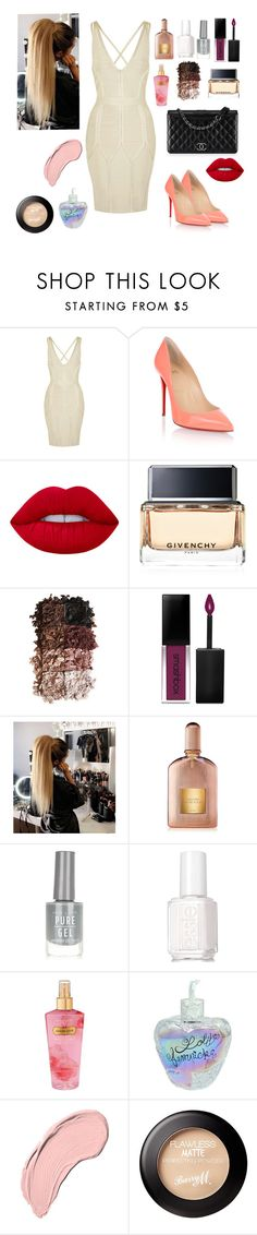 """""""Glam Peach and nude"""" by mgldemartino ❤ liked on Polyvore featuring Topshop, Christian Louboutin, Chanel, Lime Crime, Givenchy, LORAC, Smashbox, Tom Ford, New Look and Essie"""