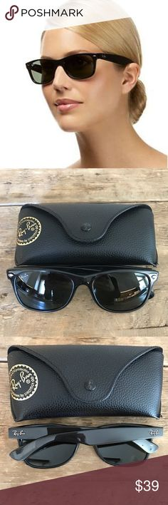 RAY-BAN New Wayfarer Black 100% Authentic Ray-ban RB 2132. Color black 901. 55mm x 18mm. Used, very minor marks on glasses. Ray ban logo on glasses is coming off. 100% authentic. I purchased these myself from Nordstrom. Ray-Ban Accessories Sunglasses