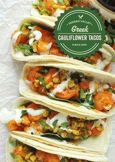 Buffalo cauliflower tacos that will make you never eat tacos without ranch again.   Full recipe: http://hiddnval.ly/SsgA8nhttp%3A//hiddnval.ly/SsgA8n