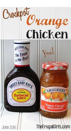Crockpot orange Chicken 4 – 5 Boneless Skinless Chicken Breasts, thawed cup Smuckers Sweet Orange Marmalade cup of Sweet Baby Ray's Original BBQ Sauce {it's SO good! Soy Sauce Crockpot by hebja Crockpot Dishes, Crock Pot Slow Cooker, Crock Pot Cooking, Slow Cooker Recipes, Crockpot Recipes, Cooking Recipes, Crock Pots, Cheap Crock Pot Meals, Lunch Recipes