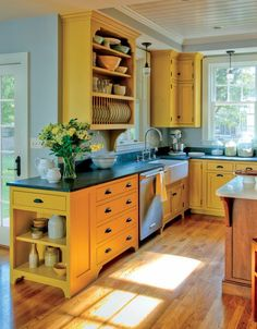 Eco-friendly milk paint on Shaker-inspired cabinets - Yellow Kitchen cabinets decor ideas open shelves Farmhouse Kitchen Cabinets, Custom Kitchen Cabinets, Kitchen Cabinet Design, Painting Kitchen Cabinets, Kitchen Paint, New Kitchen, Kitchen Ideas, Custom Kitchens, Kitchen Wood