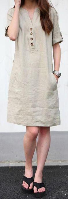 nude v neck cotton blended summer dress Stylish Dress Designs, Stylish Dresses, Simple Dresses, Women's Fashion Dresses, Casual Dresses, Summer Dress Outfits, Linen Dresses, Ladies Dress Design, Dress Patterns