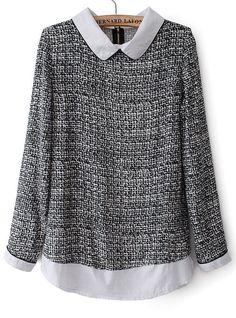Grey Contrast Lapel Long Sleeve Tweed Blouse - Sheinside.com