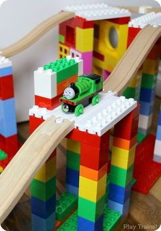 Dreamup Toys - building toys that connect wooden train tracks to interlocking building blocks (i. Thomas the train tracks & Lego DUPLO) Toddler Fun, Toddler Activities, Legos, Lego Creations, Classic Toys, Building Toys, Wooden Building Blocks, Kids Playing, Kids Toys