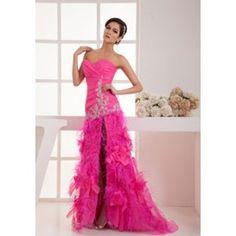 Chiffon Sleeveless  Appliques Natural Waist Feathers Prom Dress