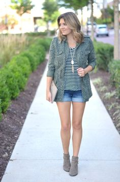 early fall style: leopard print cargo jacket with striped tee, shorts and booties