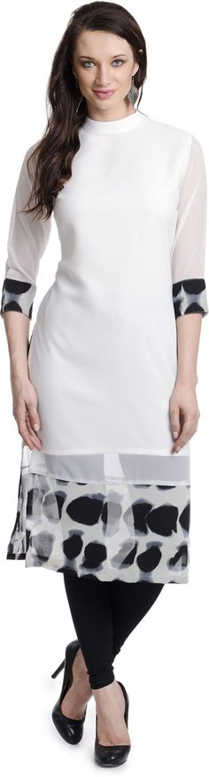 Chandigarh Fashion Mall White Geogette Printed Kurti #White   #Kurti