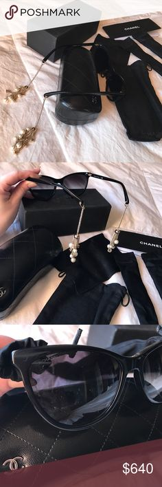 🆕Auth NEW CHANEL Black Chain Pearl Sunglasses Authentic absolutely stunning new CHANEL black cat eye sunglasses with very unique CC logos on a light gold chain with pearls at the end of each arm looks as though you are wearing classic CHANEL earrings. Classic black style and color with original box , hard case , soft case , cloth and booklet and even have covers for each arm. We're priced $1,000 at CHANEL if you wish to see more pictures please comment below. CHANEL Accessories Sunglasses