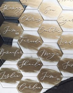 Hexagon Acrylic Place Cards Custom Painted Back First Wedding Table Name Cards, Wedding Place Settings, Table Cards, Diy Place Settings, Wedding Tables, Wedding Places, Wedding Signs, Decor Wedding, Modern Wedding Decorations
