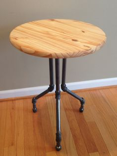 Modern Industrial End Table  Natural by IndustrialEffects on Etsy